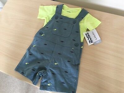 Carters Baby Boy Clothes, Age 9 Month, T-Shirt & Dungarees Outfit Set BNWT