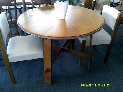 round table with 2 beige fabric chairs good condition Kings Meadows Launceston Area Preview
