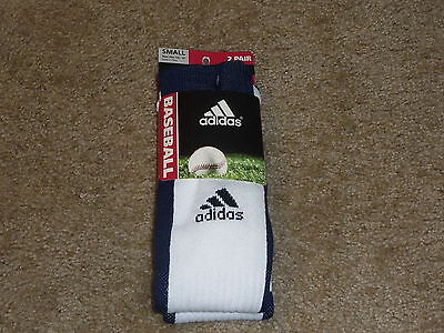 Compression Baseball Socks - 2 PAIRS ADIDAS BASEBALL SOCKS  CLIMALITE CUSHIONED COMPRESSION DARK BLUE SMALL