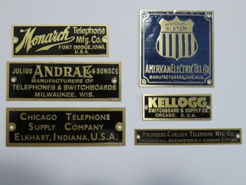 Antique telephone nameplate  Kellogg,Chicago T, Julius Andrae,Monarch + Others