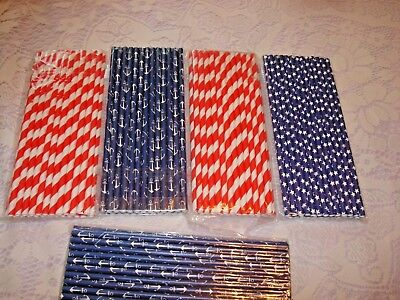 Nautical Themed Party Supplies (Nautical Theme Straws; Nautical Straws; Baby Shower; Birthday Party; Ahoy)
