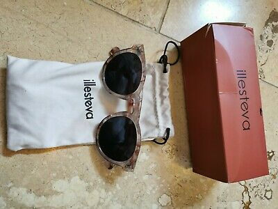 ILLESTEVA Leonard Brown Tortoiseshell Round Italian Sunglasses with Case BOXED