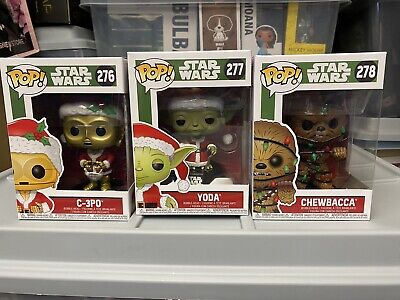 Star Wars Christmas Set Of 3 Funko Pop! C-3PO #276 Yoda #277 & Chewbacca #278