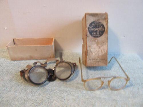 OLD American Optical Co Duralite Coverglas Goggles Original Box extra glasses