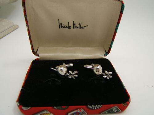 Sterling Silver Nicole Miller Martini Olive Cuff Links in Box