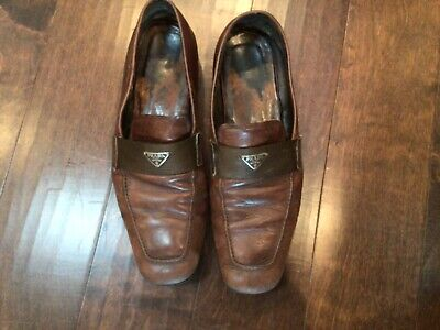Prada Loafers Shoes Brown Leather Woven Accent Strap Men's Sz Italy 12