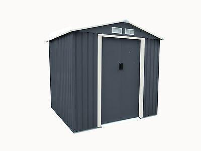Charles Bentley 6ft x 6ft Dark Grey Metal Apex Garden Steel Shed Outdoor Storage