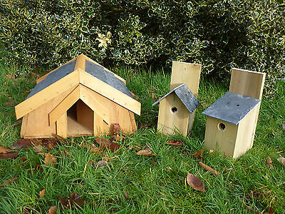 Hedgehog House with a SLATE ROOF, plus ONE slate roofed bird nesting box