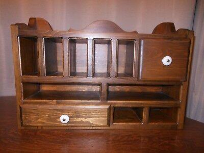 Hand Crafted Wood Office Desk Organizer 2 Drawers 9 Cubbies Upper Shelf Vtg