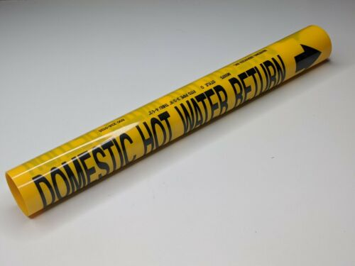 """Domestic Hot Water Return Coiled Pipe Marker - 3-3/8"""" to 4-1/2"""" - wrap style d"""