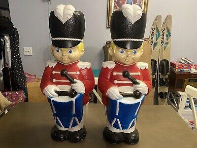 "Pair Vintage Grand Venture Drummer Boy Toy Solider Blue Blow Molds 33"""