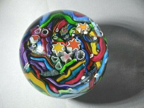 "Doug Sweet Karuna Glass Fantasy Multicolored Millefiori Paperweight 2 5/8"""