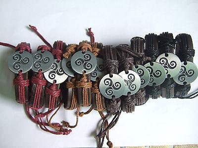 (Wholesale lot 12 Pcs Wrap Hemp Totem Charm Leather Bracelets Silver Surfer Sur)