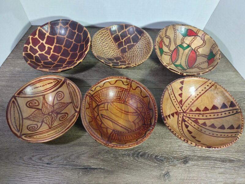 Lot Of 6 Vintage African Hand Made / Carved / Painted Wood Bowls Kenya Giraffe