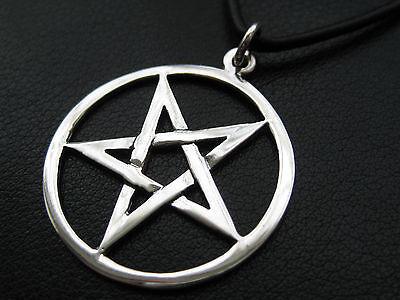 Pentagramm 925'er Silber Anhänger + Echtlederband Gothic / KA 221