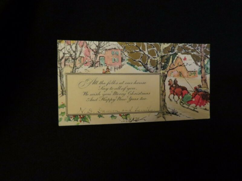 Vintage Art Deco Horse Drawn Sleigh, Village Christmas And New Year Card 1930s