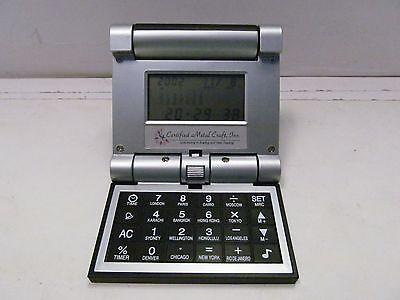 Foldable World Clock Alarm Calculator Pocket Travel Desktop