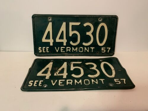 Matched Pair 1957 Vermont License Plates, Tags