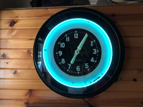 "LARGE Excellent Vintage 27"" GLO-DIAL NEON CLOCK working advertising Old Gas Oil"