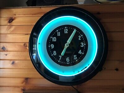 """LARGE Excellent Vintage 27"""" GLO-DIAL NEON CLOCK working advertising Old Gas Oil"""