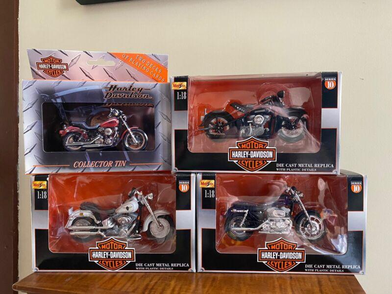 Set Of 3 Harley Davidson 10 Series Diecast Bikes + Cards & Collectors Tin