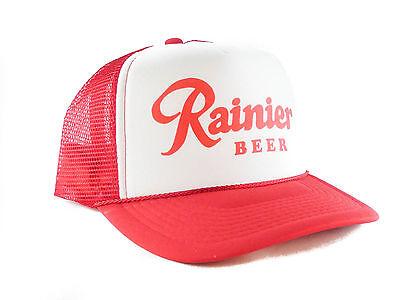 Vintage Rainier Beer hat Script Trucker Hat mesh hat snapback hat red new