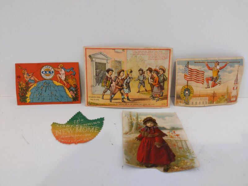 Sewing Trade Card & Label Collection Thread Spool Cotton Dyes Sewing Machine