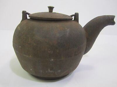 Antique Large Cast Iron Kettle Teapot From Wood Burning Stove Swing Handle Lid ()