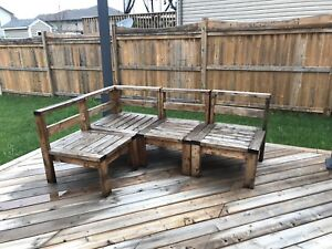 Wood Stained Patio Set