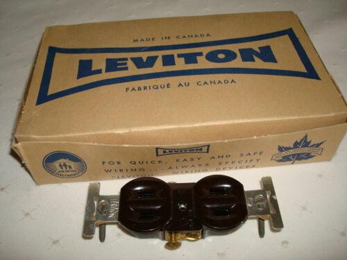 10 VINTAGE LEVITON BAKELITE BROWN DUPLEX FLUSH RECEPTACLE 15A 25V NOS 223