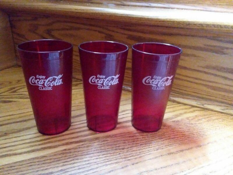 Coca Cola.. Red Plastic Tumblers/Cups.. Set of 3