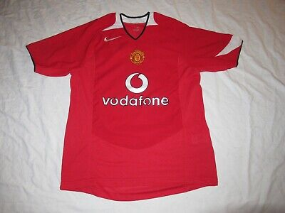 MANCHESTER UNITED 2002 2004 NIKE FOOTBALL HOME SHIRT JERSEY RED VODAFONE ENGLAND image