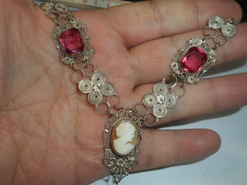 Victorian 100 Year Old Wide Silver Carved Shell Cameo Big Pink Crystal NECKLACE