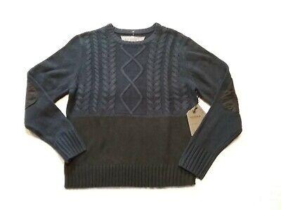 SEDUKA Mens Cable Knit Sweater Elbow Patches Colorblock Indigo/Black Sz-S NWT$90