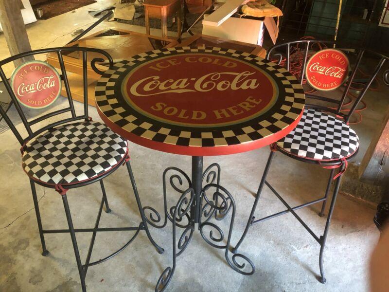 Coca-Cola Pub Table & Bar Stools Coke Bottle Stool