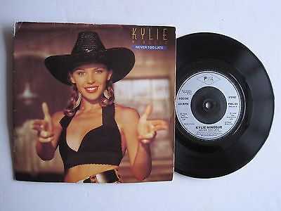 """KYLIE MINOGUE - NEVER TOO LATE - 7"""" 45 rpm vinyl record"""
