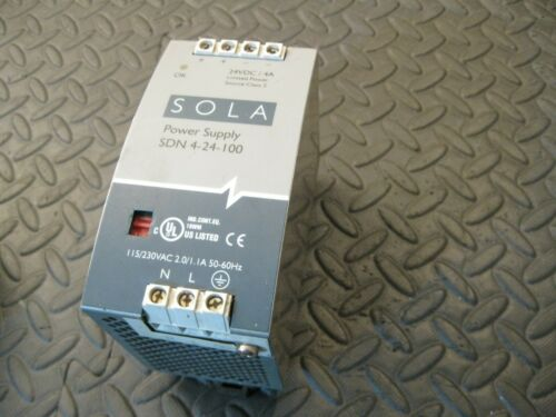 SOLA SDN 4-24-100 Power Supply, 115/230VAC 2/1.1A in 24VDC 4A out
