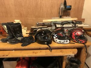 Motorcycle helmet, boots, and gloves