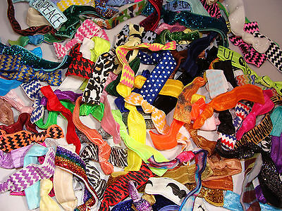 Elastic hair ties multi-color random lot ponytail holder about 100 bands 1/3 lb