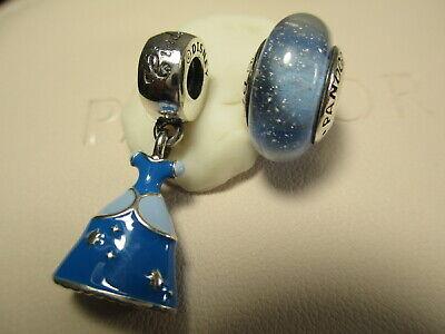 2 Authentic Pandora Disney Cinderella's Blue Princess Dress Charm & Murano -