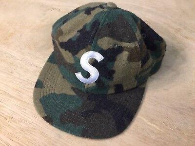 SUPREME WOOL S LOGO 6 PANEL HAT CAP WOODLAND CAMO FW17 WOOLRICH camp cap