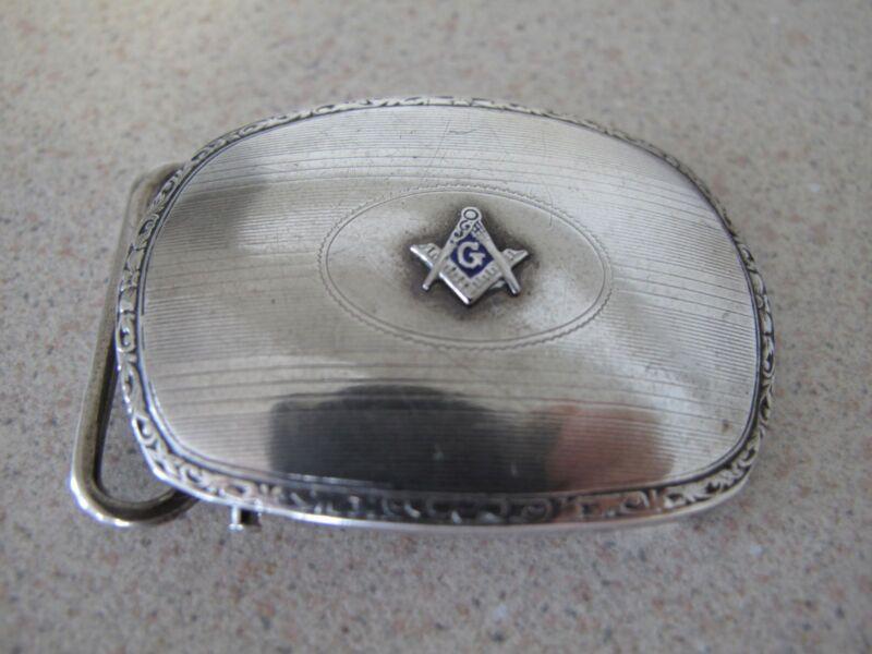 Masonic Belt buckle sterling silver oval vintage