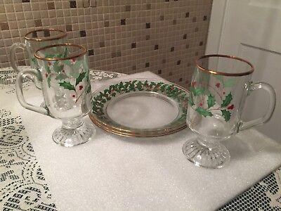 Lenox Christmas RARE Bifocals Irish Coffee Mug & Dessert Plate-Set of 3