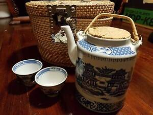 Tea set with teapot and 2 cups in basket Denistone Ryde Area Preview