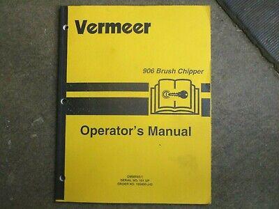 Vermeer 906 Brush Chipper Owners Maintenance Manual