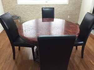 Dining Table Set with 4 leather chairs