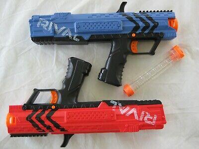 2014 Hasbro Nerf Rival XV-700 Blue & Red foam ball guns w/Magazine~C-044B~WORKS!