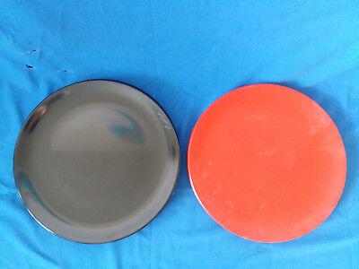 Vintage Plastic Black And Red Serving Platter Diameter 14