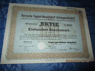 Wertpapier / Aktie , Persische Teppich - Gesellschaft  AG , Berlin 1926 , 100 RM