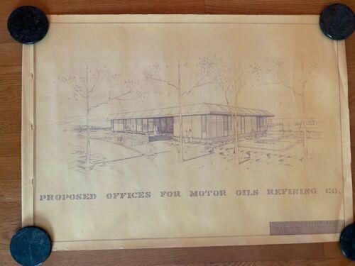 Original Architect Rendering BLUEPRINTS SET 1960s MODERN Office Building Lyons